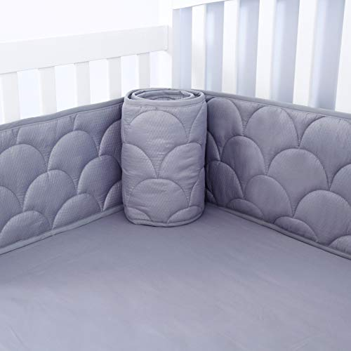 Biloban Baby Bumper for Cribs, Safe & Washable Baby Bedding Bumpers Crib Padded Liners for Boys, 4 Piece/Set Fit Standard Crib 52 x 28, Gray