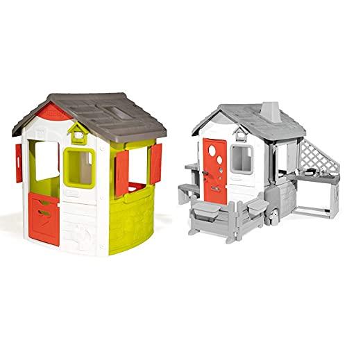 Smoby – Neo Jura Lodge - Spielhaus für Kinder für drinnen und draußen & Haustür für Smoby Spielhäuser – Zubehör für Spielhaus, große Haustür mit Türklinke, Postschlitz, Schlüssel, Gucklöcher