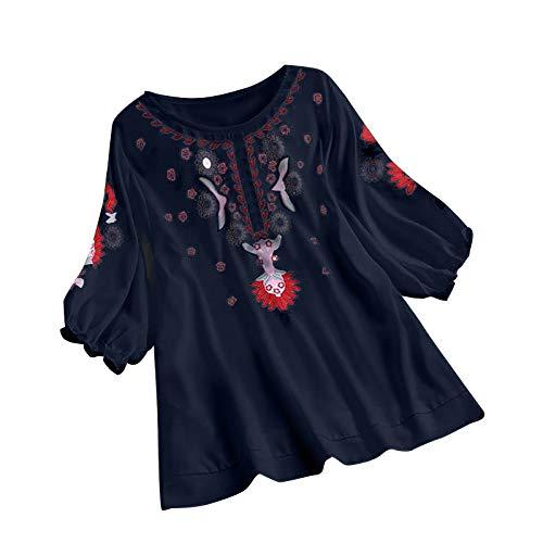 Lazzboy Frauen Weinlese Spitze Patchwork Bogen V-Ausschnitt Viertel Blusen Top T-Shirt Damen Bohemian Stickerei Floral Tunika Shirt Bluse (Y-Marine-Drucken,3XL)