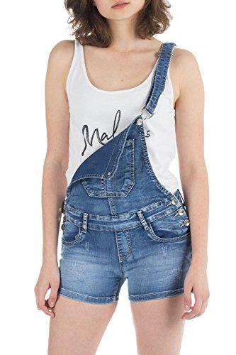 Malucas Damen Jeans Shorts Latzhose Kurze Hose Hotpants Bermuda Overall Jumpsuit Stretch 00438, Größe:36, Farbe:Blau