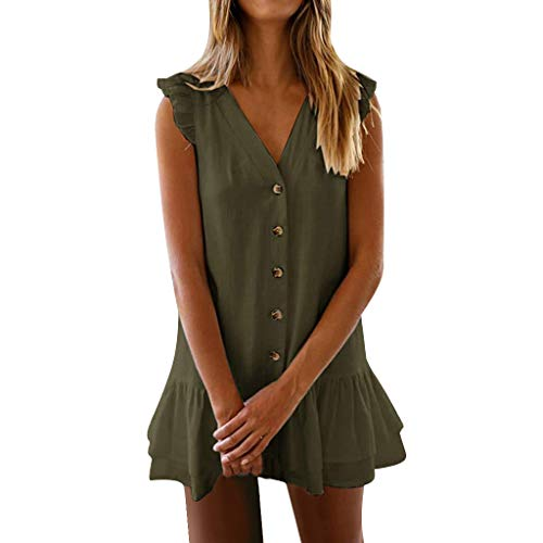 Best Price KYLEON Women's Cute Shift Tunic Dress Short Bell Sleeve V Neck Button Causal Swing Ruff...