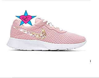 71cb9aecf8e Women Glitter Bling Crystal Rose White Nike Tanjun Sneakers