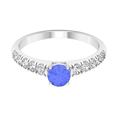 Anillo solitario de tanzanita de 1 ct con acento de diamante, anillo de piedra lateral (tanzanita de 5 mm de corte redondo), 14K Oro blanco, tanzanita, Size:EU 46