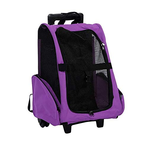 FQCD Pet Carrier Travel Backpack Rolling Duffel Bag with Wheels and Backpack Straps