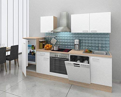 respekta inbouw keuken kitchenette keukenblok 280 cm eiken natura wit keramische