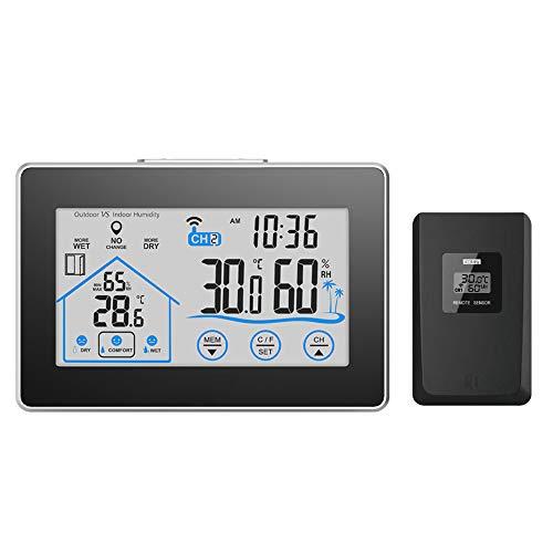 FORNORM Estación meteorológica Digital para Interior y Exterior, termómetro, higrómetro con Sensor Exterior, indicador de Tiempo
