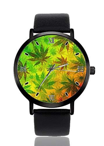 PALFREY Marihuana Hojas Rasta Relojes de Pulsera Negocios Casual Deporte Reloj de Cuarzo para Mujeres Hombres Impermeable Unisex Reloj
