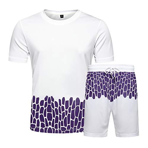 DZHTSWD Mens Sportswear STUCKSUIT Set para EL Verano, Juegos DE Juegos DE Hombres Sets SP Sportswear Set Stude Corte Top y Pantalones Cortos para el Verano (Color : White, Size : L)