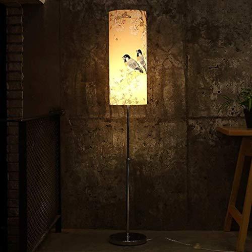Busirsiz Led Nuevo chino Lámpara de piso, lámpara de cabecera del dormitorio de elevación tipo retro iluminación, Sala de estar Estudio creativo retro luz, lámpara moderna simple vertical Eye-Cuidado