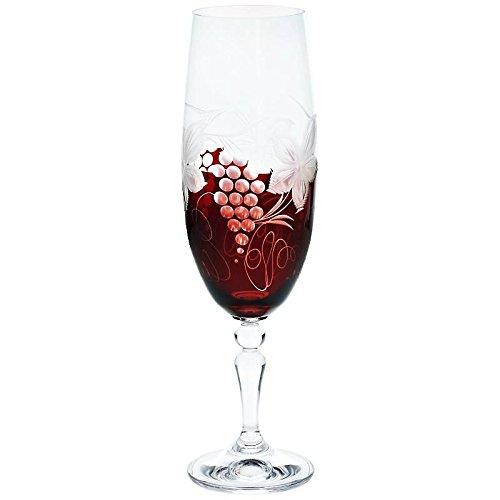 CRISTALICA Flûte de Champagne, Champagne Coupe, Verre de Champagne, Red Grapes 190 ML, Verre de Haute qualité, Fait Main, Style Moderne (German Crystal Powered by