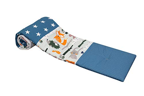 ULLENBOOM Protector para bordes de cuna │ Chichonera bebé también para colecho │ Parachoques de algodón 145 x 24 cm │ bosque verde azul