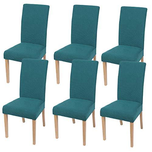 Homaxy Stretch Stuhlhussen Hussen für Stühle Stuhlbezug Waschbar Elastische Moderne Stuhl Esszimmer überzug - Türkis, 6er Set