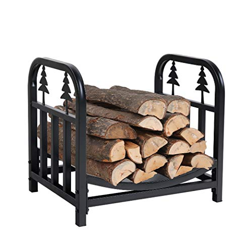 PHI VILLA Indoor/Outdoor Firewood Racks 18 Inches Small Log Rack Brackets Decorative Fireside log holders, Black…
