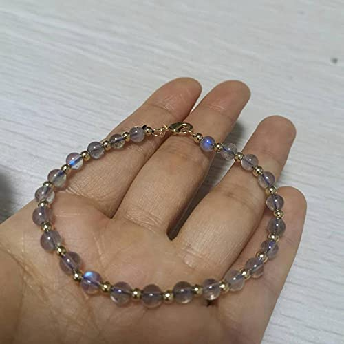 XIAOLONG Labradorita, Pulsera de Piedra Lunar, Piedras Preciosas, Piedras Naturales, Cierre de Cuentas rellenas de Oro de 14 K para Mujeres Elegantes, Regalo de joyería clásica