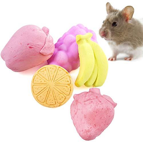 Juguetes para masticar de pájaros para dientes de molienda de lava, piedra de calcio para hámster, chinchilla, conejo, ratón, ardilla, dentado, masticar juguetes (paquete de 5)