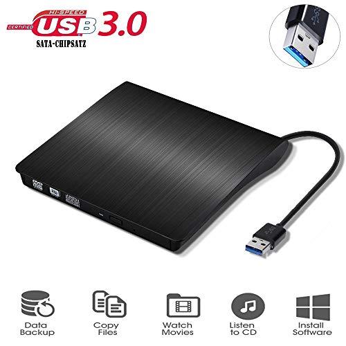 conhee Externes DVD CD Laufwerk USB3.0, Externe CD/DVD-RW Brenner, Slim Extern Superdrive für Laptop/Desktop PC unter Windows und Mac OS für MacBook