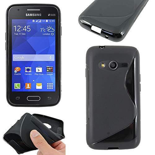 ebestStar - Funda Compatible con Samsung Galaxy Trend 2 Lite SM-G318H, Galaxy V Plus Carcasa Gel Silicona Gel TPU Motivo S-línea, S-Line Case Cover, Negro [Aparato: 121.4 x 62.9 x 10.7mm, 4.0'']
