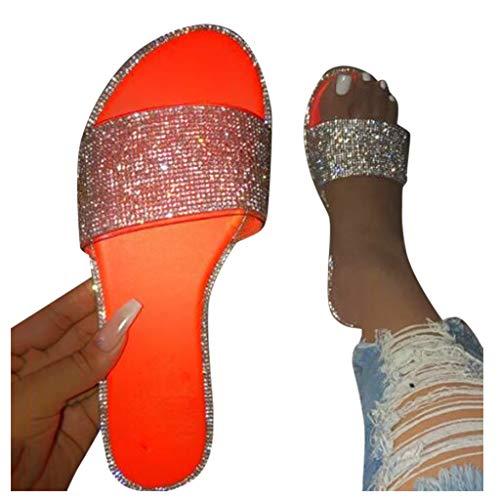 Vedolay Women Sandals Wedge Heels Women Sandals Crystal Bling Slide Flat Low Wedge Sandals Casual Beach Slippers Summer Flip Flops Wide Width Sandals Orange
