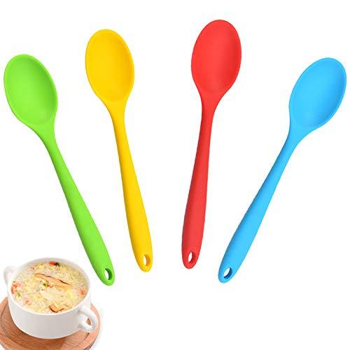 Cuchara Chef de Cocina para Hornear Resistente al Calor Cuchara de Cocina Antiadherente Silicona Revolviendo Cuchara de Cocina de Silicona Multicolor Sin BPA Cuchara para Cocinar Hornear Mezcl