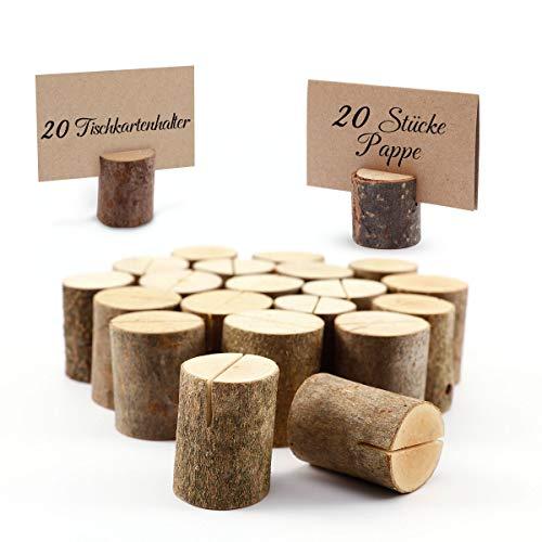 Surepromise 20er Holz Deco DIY Holzsteg Kartenhalter Platzkarte Menükartenhalter Tischkartenhalter Aufsteller Fotohalter Vintage Namesschild Tischnummernhalter Hochzeit Deco