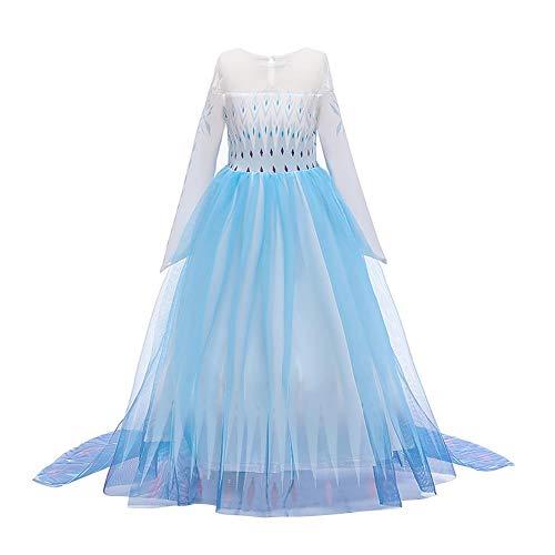 IWEMEK Disfraz de reina del hielo Elsa para niña, vestido de princesa de nieve, vestido de princesa con copos de nieve, vestido de tul, para Navidad, carnaval, fiesta de cumpleaños B-azul 01 5-6 Años