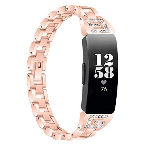 Miya System Ltd Bracciale Inspire 2, Cinturino in Acciaio Inossidabile Cinturini per Orologi di Ricambio con Strass Bling Cinturino Rigido Compatibile per Inspire 2 (Oro Scuro)