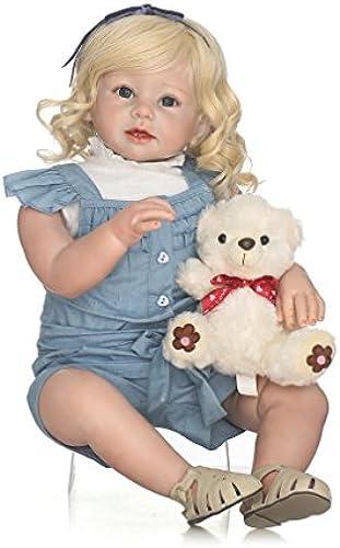 Gugutogo 28-Zoll-volle  -Weiße Silikon-Vinylbaby-Puppe ungiftig sicheres Spielzeug handgemacht (Farbe  Bunt)