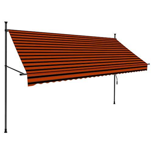 vidaXL Markise Einziehbar Handbetrieben mit LED Wasserabweisend Klemmmarkise Balkonmarkise Sonnenschutz Terrasse Balkon Garten 300cm Orange Braun