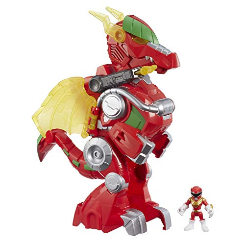 """Power Rangers Playskool Heroes Red Ranger & Dragon Thunderzord, 3"""" Action Figure, 14"""" Zord, Lights & Sounds, Collectible Toys for Kids Ages 3 & Up"""