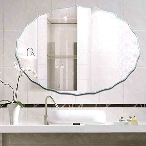 HD Bathroom Mirror Large Modern Oval Mirror, Wall Mounted Frameless Vanity Mirror, HD Explosion Proof Wall Mirror for Bathroom, Makeup, Dressing and Living Room*Product Code: WW-85