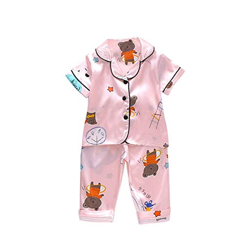 YWLINK Conjunto De Pijamas Para NiñOs,Pijama Suave De Verano SatéN De Seda De Hielo,Pijamas De Manga Corta Con Estampado De Animales De Dibujos Animados Para NiñAs Y Traje De Servicio A Domicilio