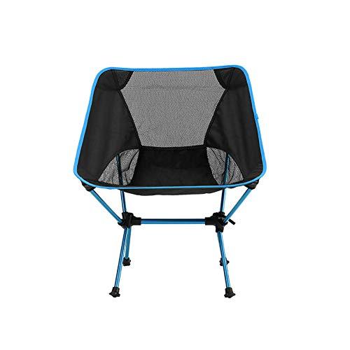 SSDAOO Outdoor-Klappstuhl Tragbare Aluminium-Mondstuhl Freizeit Camping Angelstuhl Folding Malerei Stuhl Outdoor Rückenlehne Strandstuhl,Blau