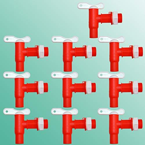 10stk. Wasserhahn für Regentonne Regenfass, der Kunststoff-Auslaufhahn in rot mit Mutter und Dichtung, für Regenspeicher, Wasserbehälter. Auslaufventil Kugelhahn