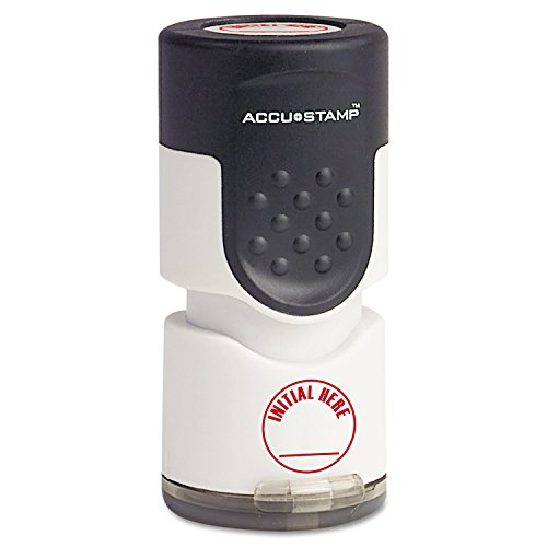 "COSCO Accustamp Pre-Inked Round Stamp with Microban, Initial HERE, 5/8"", Red (COS035661)"