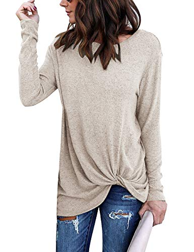 Yidarton Women's Comfy Casual Long Sleeve Side Twist Knotted Tops Blouse Tunic T Shirts(ap,l) Apricot