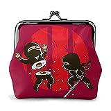 Sushi Ninja Women 'S Wallet Hebilla Monederos Monedero Kiss-Lock Cambiar Carteras de Maquillaje de Viaje