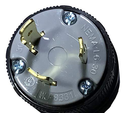 NEMA L6-30 Plug. 30Amp. 250Volt. 2-Pole, 3-Wire. Grounding. Locking Plug