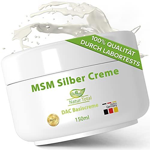 Natur Total MSM Silber Creme - 150 ml – Kolloidales Silber und MSM Pulver eingearbeitet in Basiscreme nach DAC Deutscher Apotheken Codex