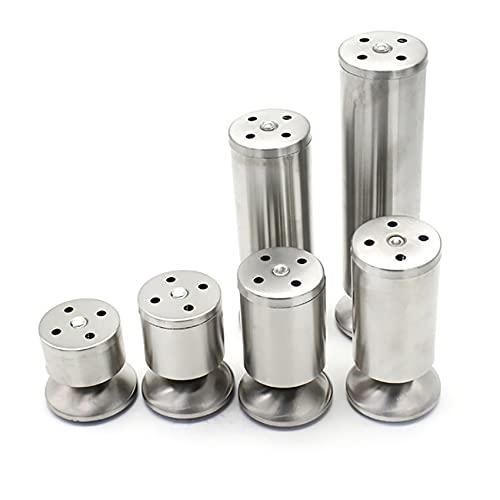 Yubingqin 4 patas ajustables de acero inoxidable para cocina, redondas, 50 mm de diámetro, 60/80/100/120/150/200/300 mm de altura, cepillado (color: 50 x 60 mm)