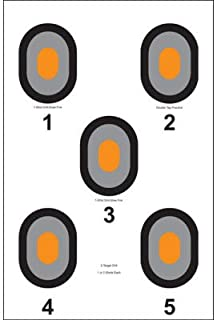Action Target - 5 Bull`s-Eye Paper Target with Orange Centers - 100 Pack - Paper Targets, Shooting Targets