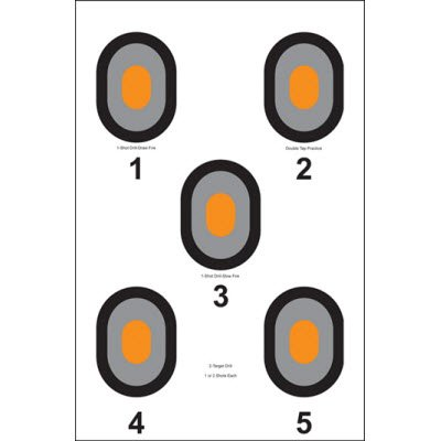 Action Target - 5 Bull's-Eye Paper Target with Orange Centers - 100 Pack - Paper Targets, Shooting Targets
