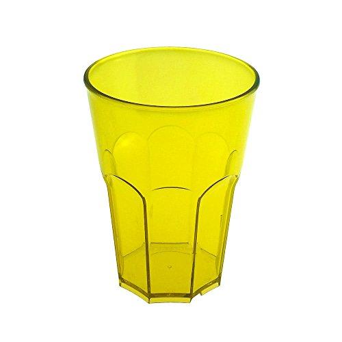 Verre à cocktail en plastique dur de doimo Flair Rocks 35 cl Transparent une tasse en plastique rigide poli Carbonate Set 10 stk. empilable partygeschir bruchfestes Lave-vaisselle Caipirinha Verre long drink Whisky Verres. jaune