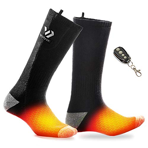 WILDYAK Heated Socks for Men Women - Rechargeable Heating Socks, Electric Socks Battery Powered Socks for Winter Sport Outdoors (Black Grey)