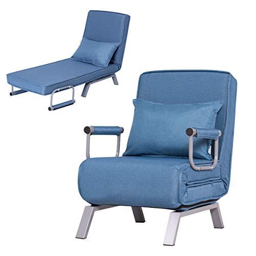 DREAMADE Schlafsofa klappbar, Sofa mit Bettfunktion, Klappsessel Sofabett Schlafsessel Einstellbar, Sofabett Sofa mit Schlaffunktion (Blau)