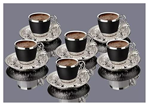 ZHANGZHI Turco conjunto juego de café de las tazas de café 6 conjunto de conjunto puf cobre de tazas de café arábiga conjunto de espresso conjunto de las tazas de café (Colore : Silver Set of 6)