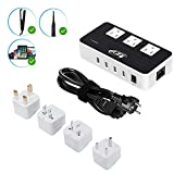 Key Power 200-Watt Step Down 220V to 110V Voltage Converter & International Travel Adapter/Power Strip - [Use for USA Appliance Overseas in Europe, Australia, UK, Ireland, Italy and More]