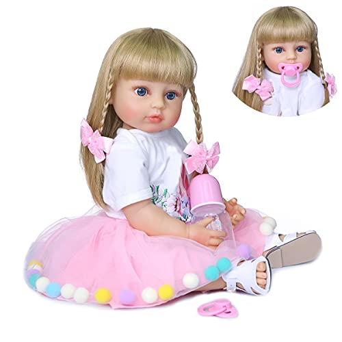 ROSHUAN 22 inch Reborn Toddler Baby Dolls Reborn Baby Girls Blonde Hair Weighted Full Body Silicone Vinyl Reborn Baby Dolls Blue Eyes Pink Dress Accessories for Girls Birthday Gifts