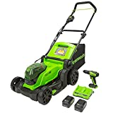 Greenworks 48V (2 x 24V) 17-Inch Brushless Cordless Lawn Mower, (2) 4.0Ah USB Batteries (USB Hub) and Dual Port Rapid Charger + 24V Brushless Drill / Driver