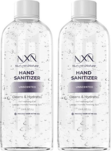 NxN Beauty Advanced Hand Sanitizer Refill Pack, Unscented, With 70% Alcohol, 66.7 Total Fl Oz - Pack of 2 33.8oz