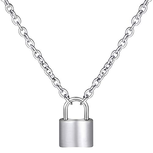 wisdompro Lock-Shape Pendant Necklace, 19.6 inches Stainless Steel Punk Chain Choker Necklace for Women and Men
